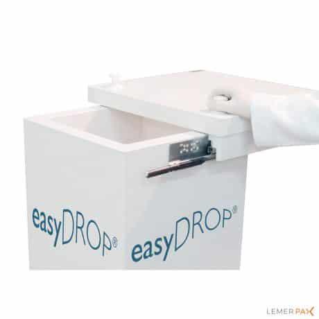 Poubelle blindée easyDROP® : stockage pratique et sécurisé des déchets radioactifs
